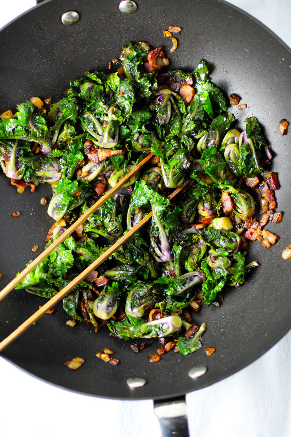 Kale Sprouts (a hybrid cross between kale and brussels sprouts) with Bacon and Onion