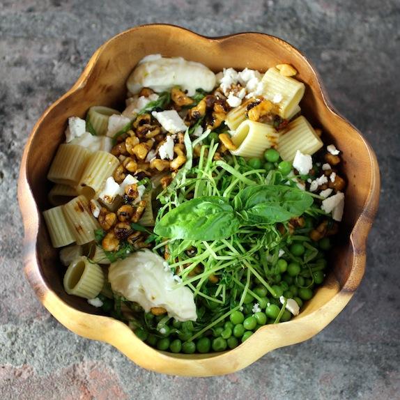 peas & pasta pea sprouts, basil, feta garlicky yogurt sauce, smoky chile walnuts