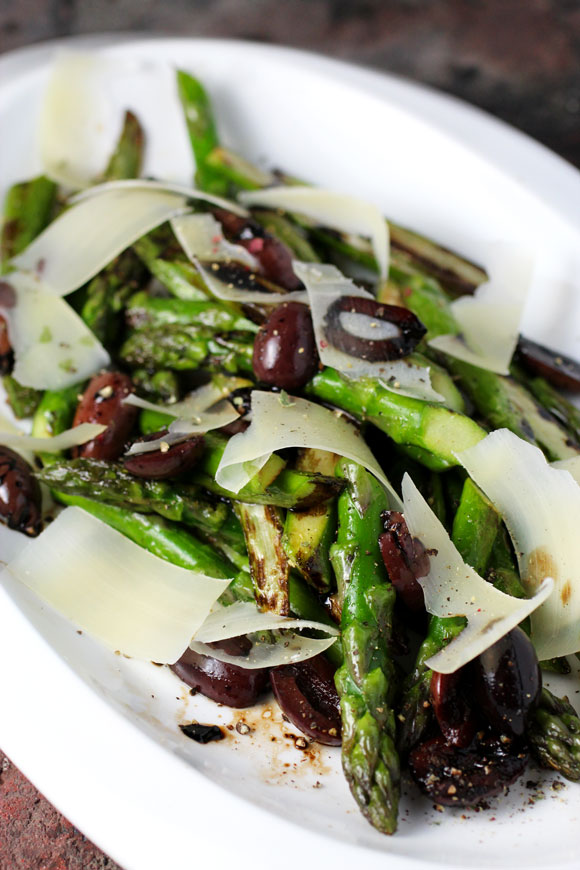 Roasted Asparagus, Olives, Parmesan Inspired by Alain Ducasse
