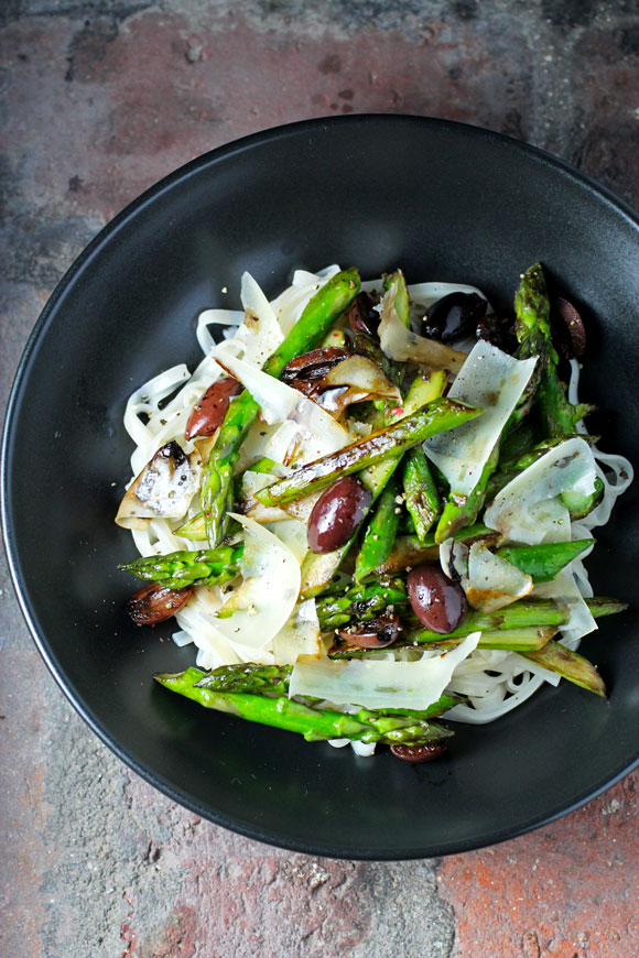 Rice Noodles with Pan-Roasted Asparagus, Olives, Parmesan