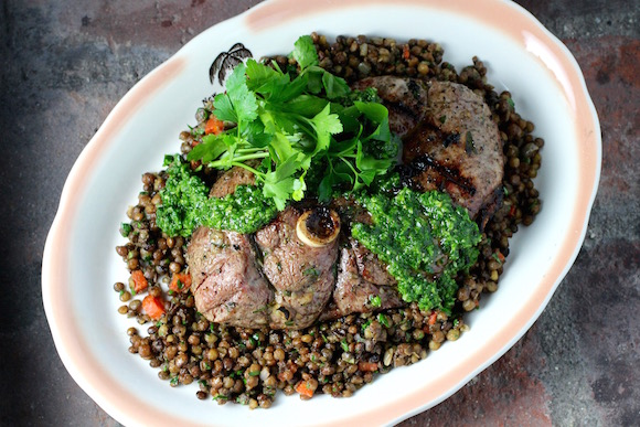 Steakhouse-Style Grilled Lamb Leg Steak, over Lentils, with Chimichurri