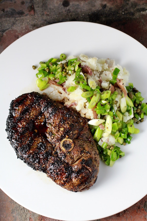 Grilled Lamb Leg Steak, Smashed Potatoes, Scallion Relish