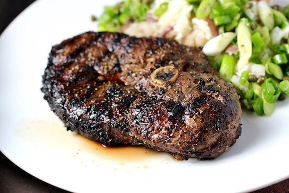 Grilled Lamb Leg Steak, Smashed Potatoes, Scallion Relish