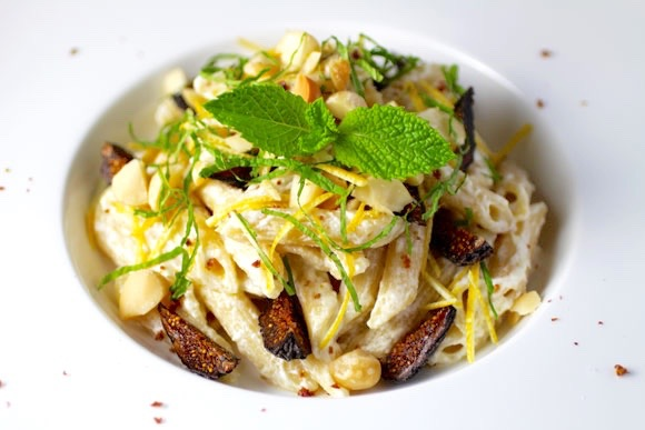 Lemon Ricotta Pasta Salad with Figs and Mint