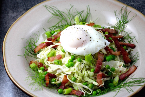 Fennel and Cabbage Slaw with Bacon, Egg, Peas