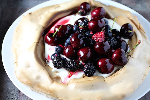 Mixed Berry Pavlova with Elderflower Lemon Curd Yogurt