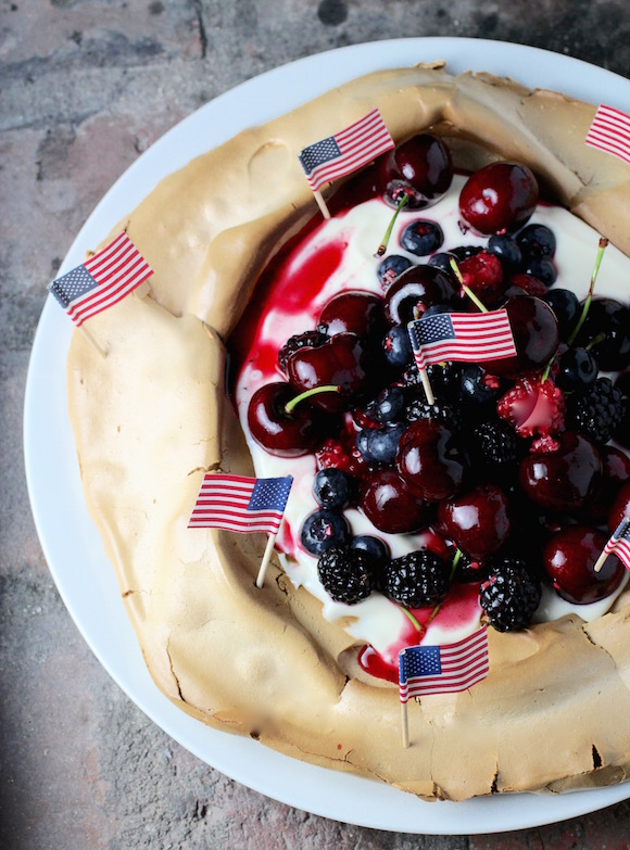 4th of July Mixed Berry Pavlova with Elderflower Lemon Curd Yogurt