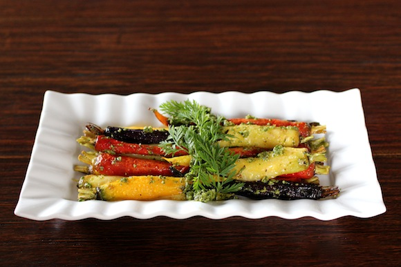 Organic Rainbow Carrots, Carrot Top Pesto