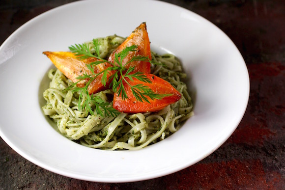 Carrot Top Pesto, Brown Rice Noodles, Thumbelina Carrots