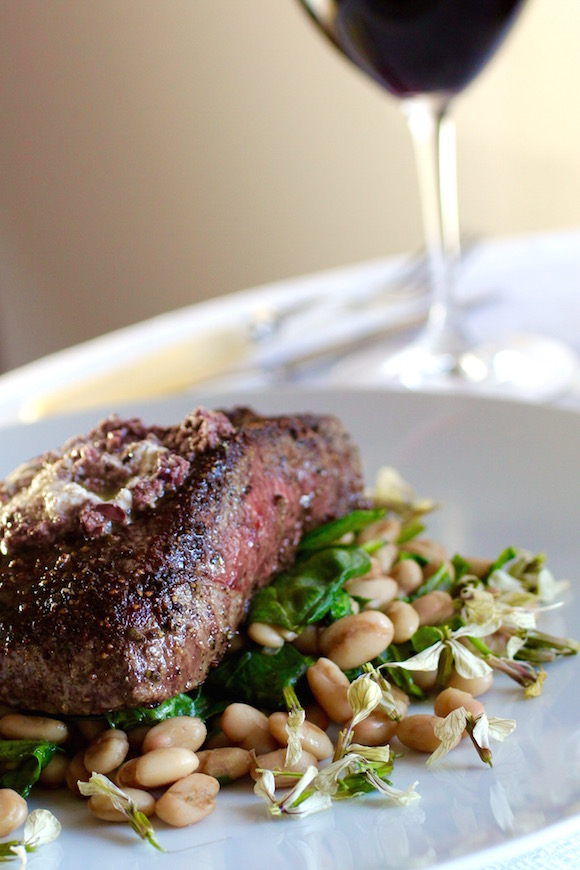 Beef Filet, Horseradish-Olive Tapenade, Cannellini Beans, Spinach, Arugula Flowers