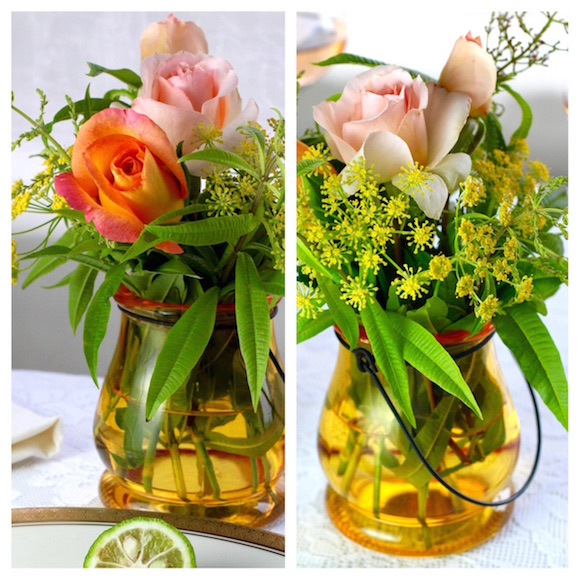 Lemon verbena, fennel, and rose centerpiece