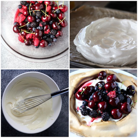 How to make a Pavlova (meringue dessert with mixed berries and elderflower lemon curd yogurt)