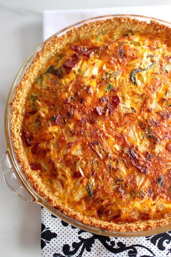 Kimchi, Bacon, Cheddar QUICHE with Quinoa Crust {gluten-free}
