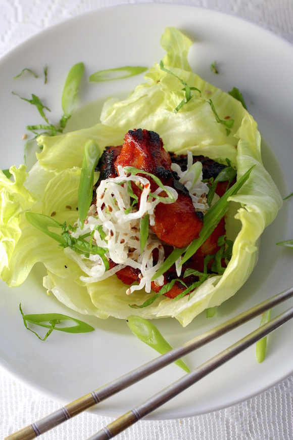 Korean BBQ Chicken, Lettuce Cups, White Seaweed Salad