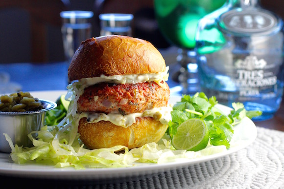 """Margarita"" Salmon Burger with Tequila, Lime, and Hatch Chiles"