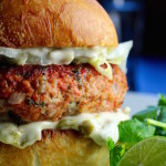 """""""Margarita"""" Salmon Burger with Tequila, Lime, and Hatch Chiles"""