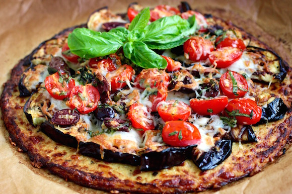Grilled Eggplant Pizza with Low-Carb Cauliflower Crust #LowCarb