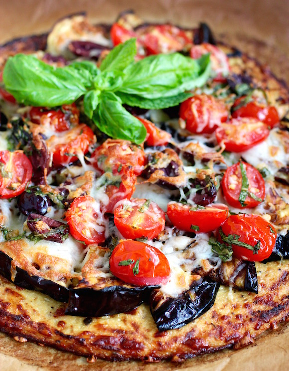 Grilled Eggplant Pizza with Low-Carb Cauliflower Crust