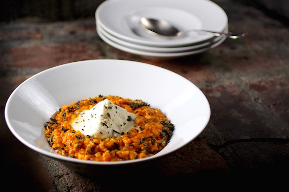 Pumpkin Risotto Stuffed with Burrata, Fried Sage