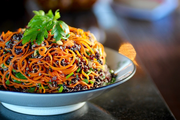 A Twist on Carrots and Quinoa with Pine Nuts, Currants, Fresh Herbs