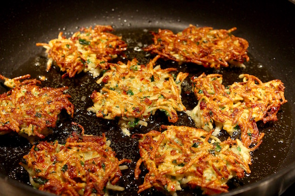 Savory Potato Latkes with Parsnip, Red Bell Pepper, Shallot, Parsley