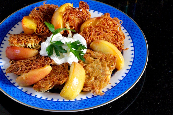 Spiralized Potato Latkes, Sautéed Apples with Wildflower Honey, Sour Cream