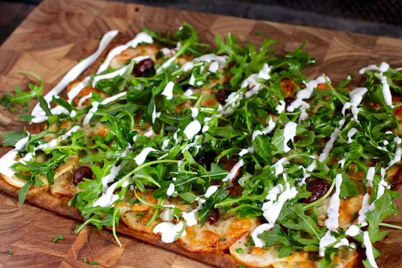 Flatbread Pizza: Potato, Arugula, Sour Cream, Chives, Olive, Truffle, Lemon