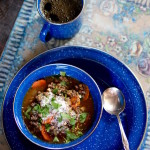 Wintery French Lentil Soup with Beef, Carrots, Sherry Vinegar, Parmesan, Cilantro