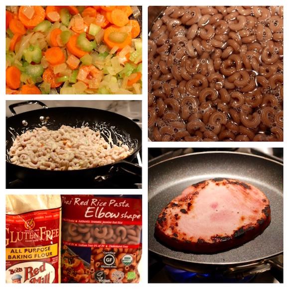 mac n cheese, ham, carrot, celery, onion {gluten-free}
