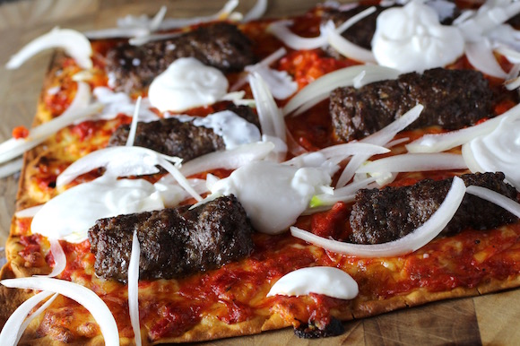 Cevapcici Flatbread Pizza with Ajvar and Sweet Onion aka #SuperBowl Flatbread