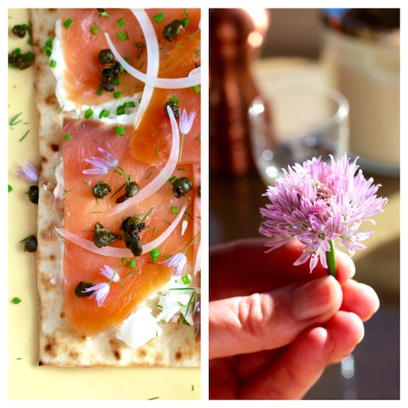 Smoked Salmon Pizza, Chive Blossoms, Fried Capers, Horseradish Cream Cheese