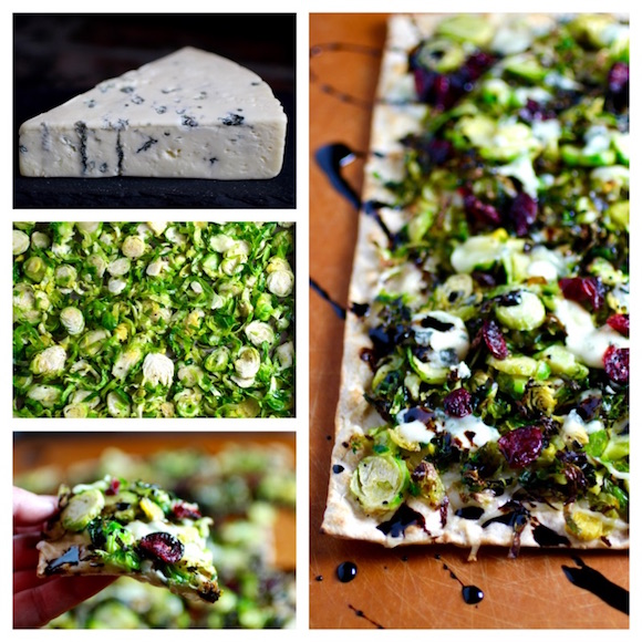 Crispy Shaved Brussels Sprouts Flatbread with Bleu Cheese, Dried Cranberries, Balsamic Syrup