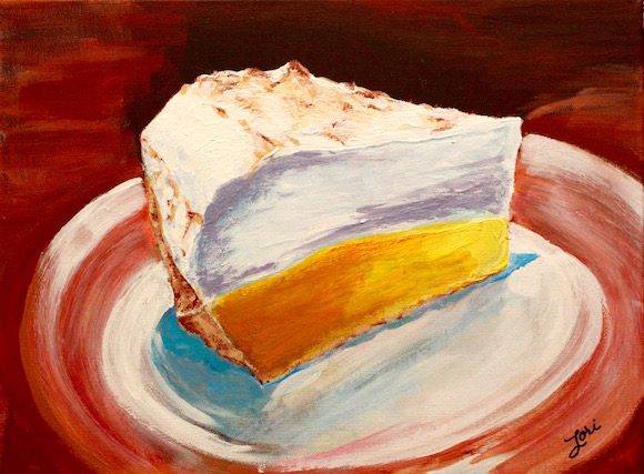 lemon meringue pie painting by Lori Lynn