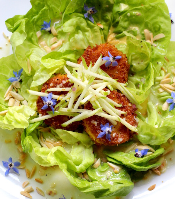 Fried Goat Cheese, Butter Lettuce, Green Apple, Almond, Borage Sweet Meyer Lemon Cream with Cardamom