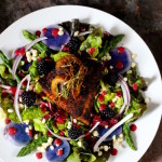 Blackened Barramundi and Sea Scallop Salad, Blackberry Vinaigrette