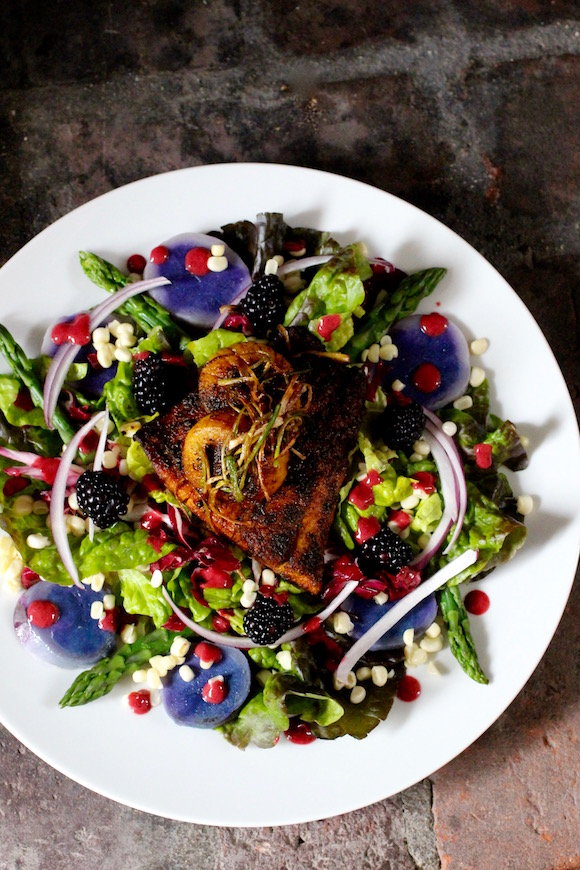 Blackened Barramundi and Sea Scallop Salad, Blackberry Vinaigrette