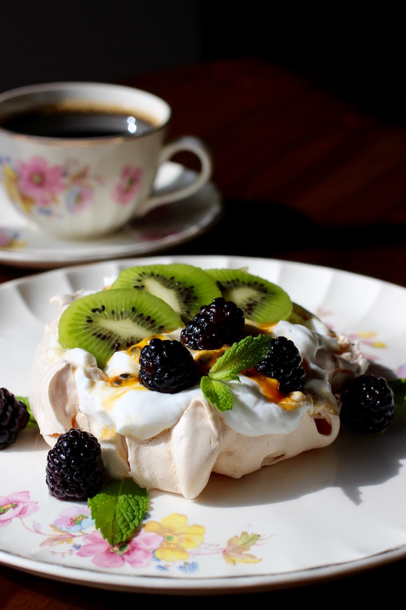 Pavlova with Whipped Yogurt Cream, Kiwi, Passion Fruit, Blackberry, Mint