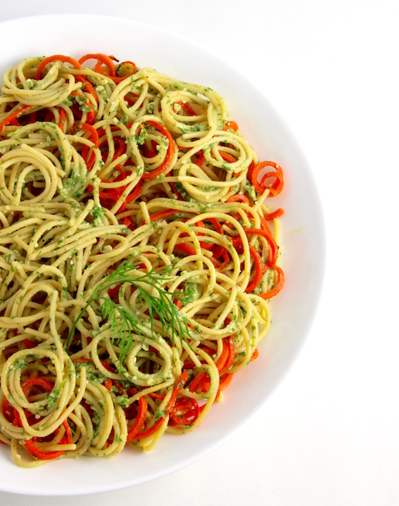 Chickpea Spaghetti with Roasted Carrots, Cilantro Dill Pesto