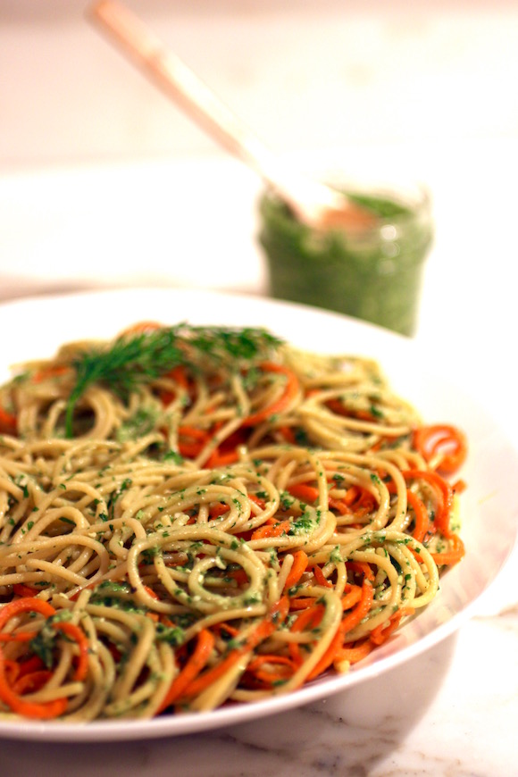Chickpea Spaghetti with Roasted Carrots, Cilantro Dill Pesto #glutenfreevegan