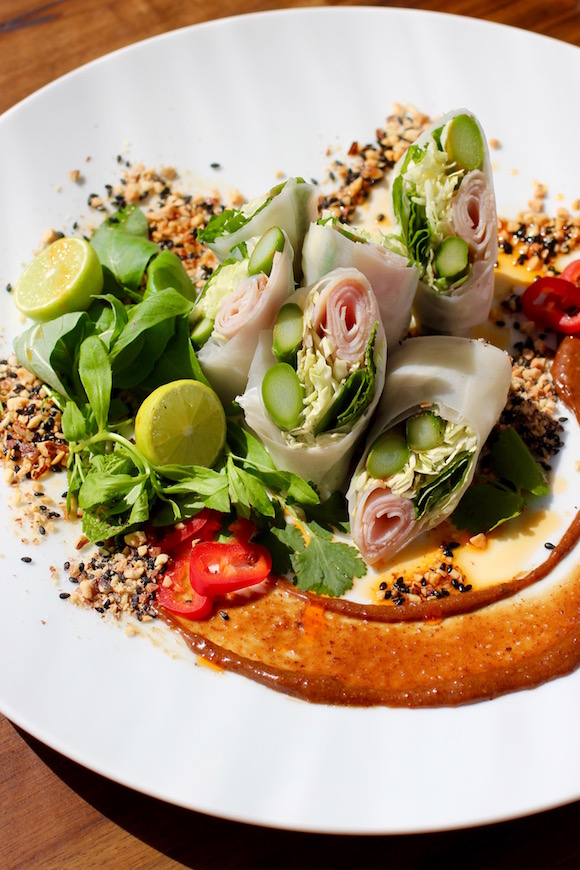 Modern Spring Rolls - Asparagus, Ham, Red Chili, Black Sesame, Almond