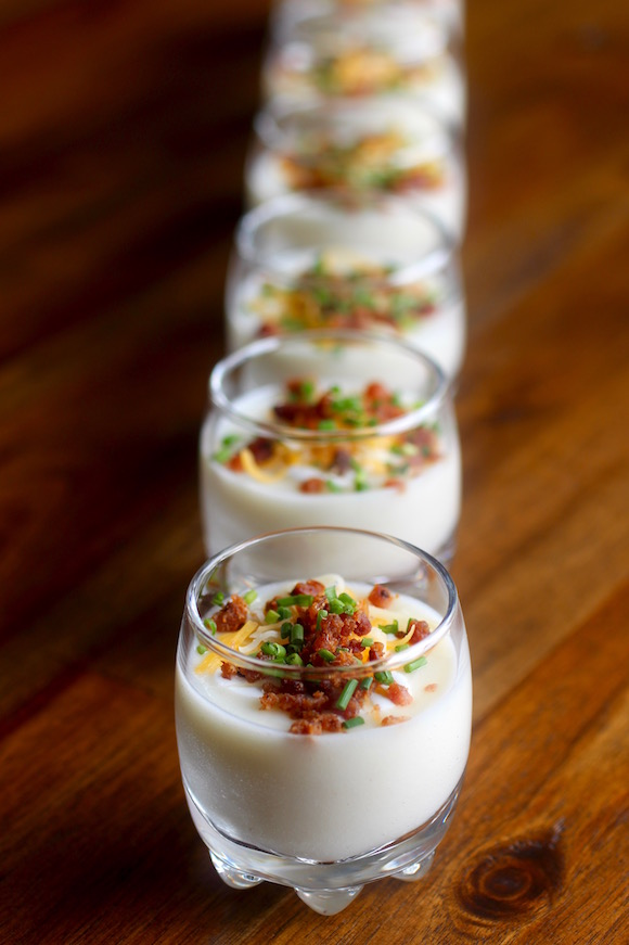 Fun little baked potato shooters taste with the eyes for Canape dessert ideas