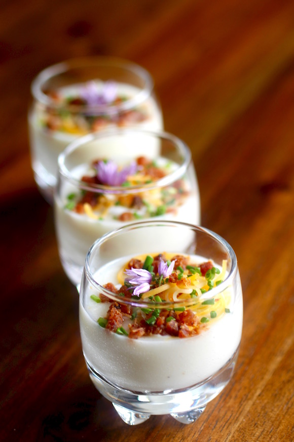 Baked Potato Shooters! Bacon, Mexican Crema, Cheese, and Chives, Chive Blossoms Too