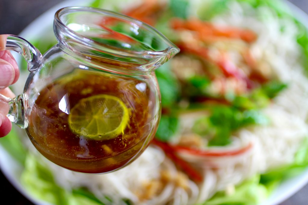 Refreshing Rice Noodle Salad, Lime Ginger Dressing