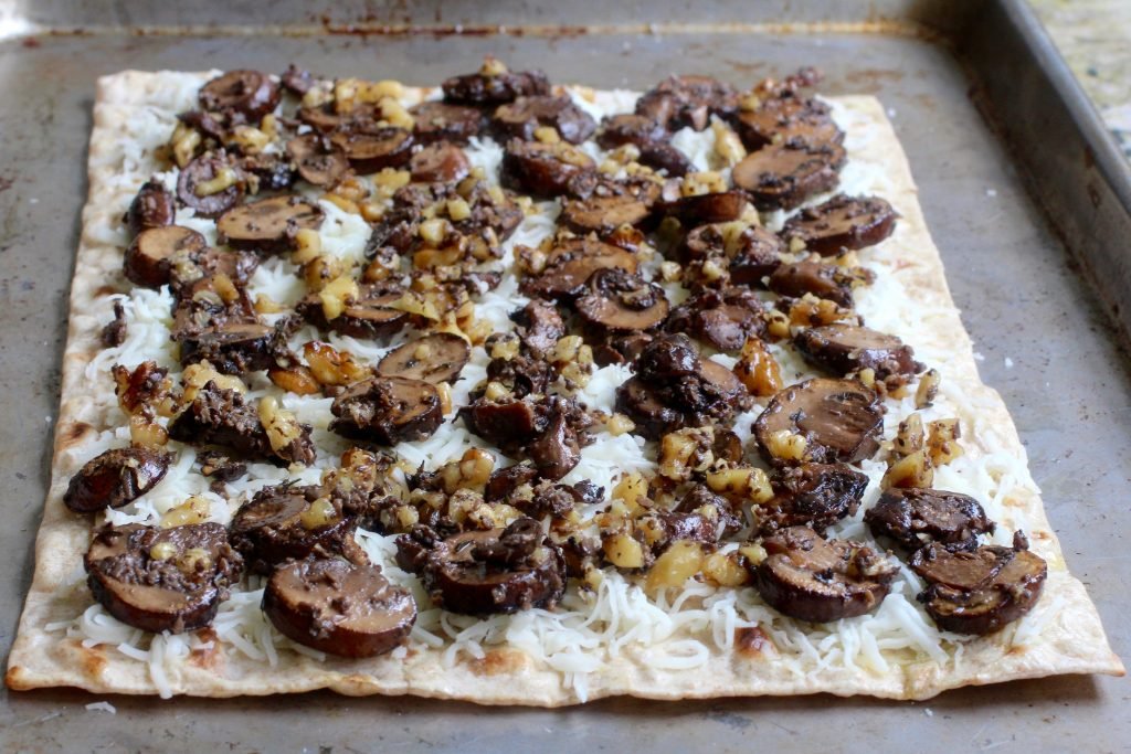 Earthy Flatbread Pizza - Mushroom, Walnut, Black Truffle Sauce