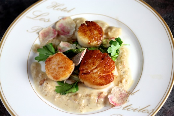 Pan-Seared Sea Scallops with a Champagne Truffle Cream Wilted Butter Lettuce and Generous Shaving of Pink-Veined Italian White Truffle