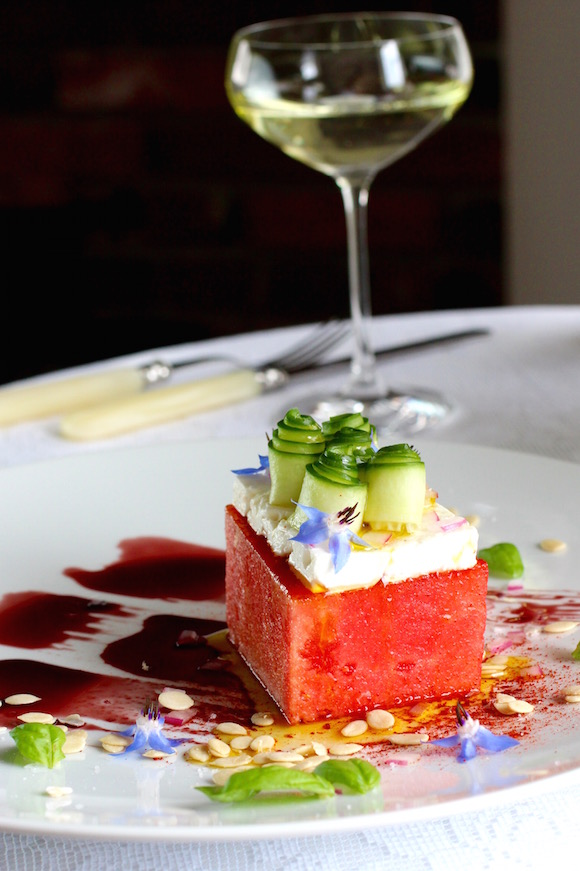 Watermelon Brick, Pomegranate Syrup, Feta, Cucumber