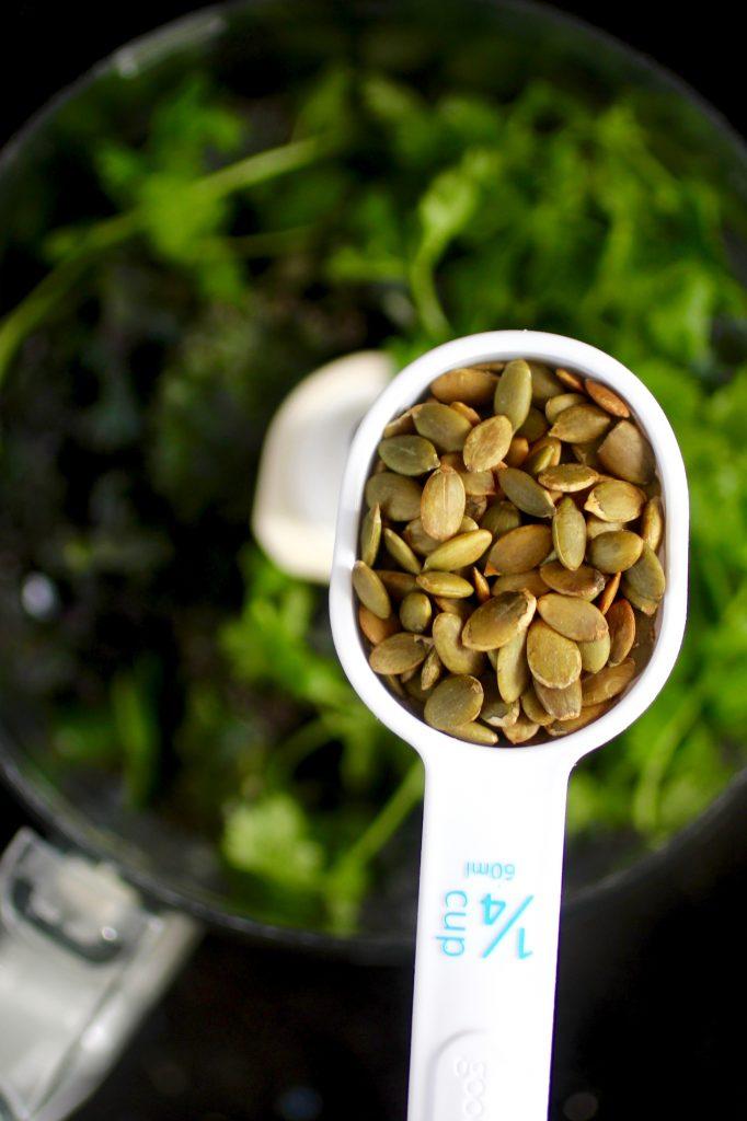 Pumpkin Seed Kale Cilantro Pesto Recipe #SuperSeedz