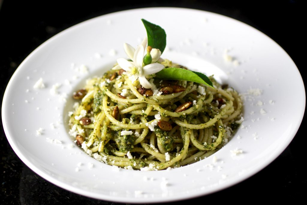 Spaghetti with Pumpkin SuperSeedz Kale Cilantro Pesto