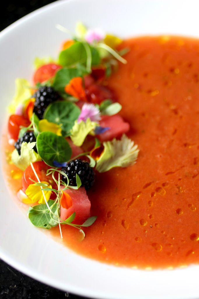 Pretty Watermelon Gazpacho with Blackberries, Tomatoes, Edible Flowers