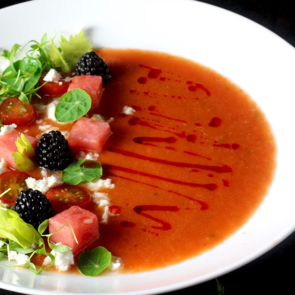Watermelon Gazpacho with Blackberries and Feta
